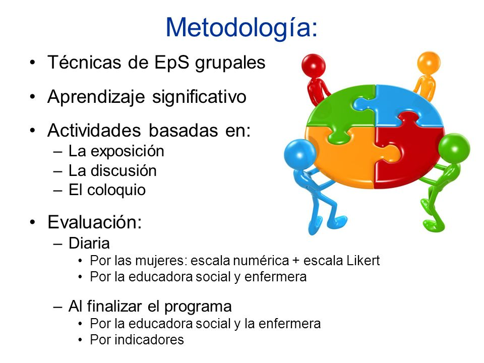 Metodología: Técnicas de EpS grupales Aprendizaje significativo Actividades basadas en: –La exposición –La discusión –El coloquio Evaluación: –Diaria