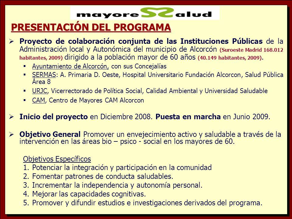METODOLOGÍA 1.Diseño, Organización y Coordinación del Programa por el grupo de representantes de las instituciones, 14 miembros, en reuniones mensuales.