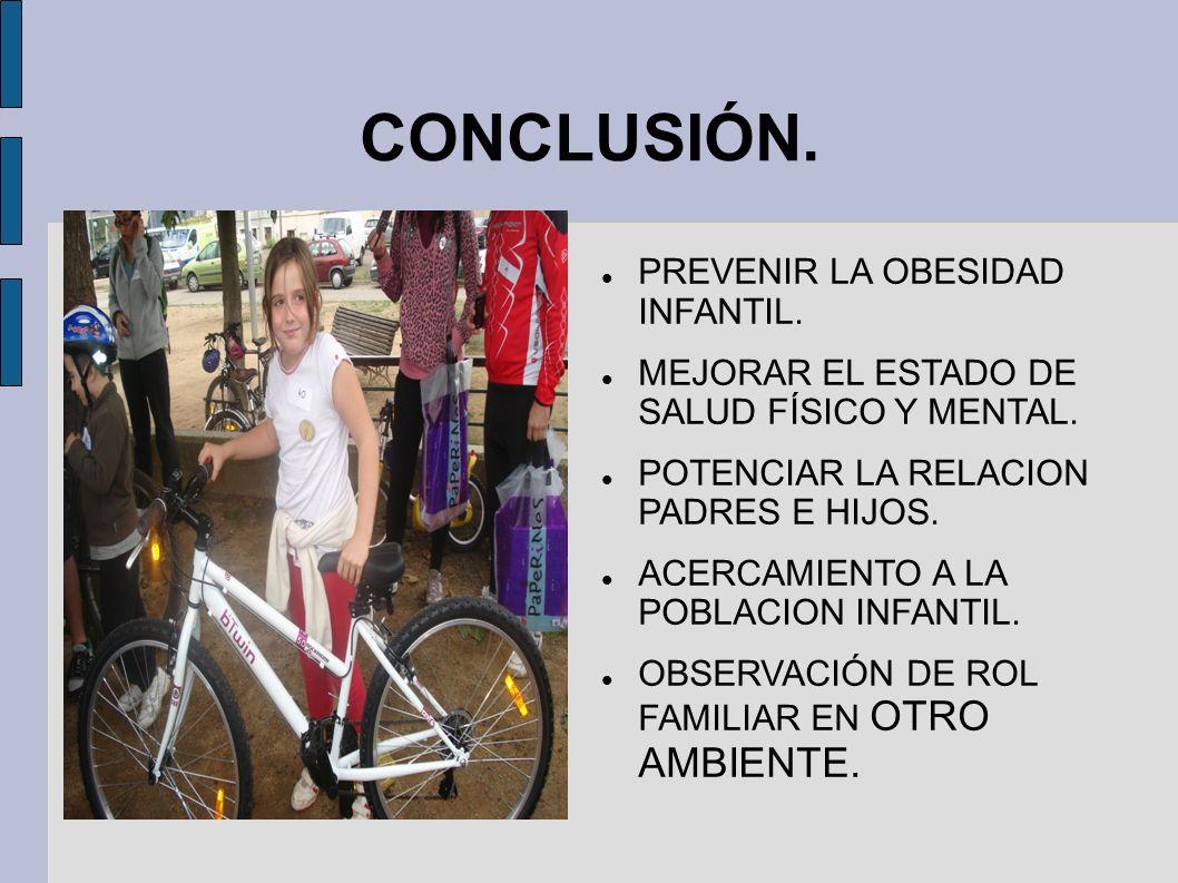 CONCLUSIÓN. PREVENIR LA OBESIDAD INFANTIL. MEJORAR EL ESTADO DE SALUD FÍSICO Y MENTAL. POTENCIAR LA RELACION PADRES E HIJOS. ACERCAMIENTO A LA POBLACI