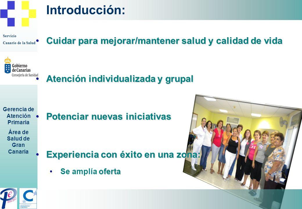 Servicio Canario de la Salud Gerencia de Atención Primaria Área de Salud de Gran Canaria Introducción: Cuidar para mejorar/mantener salud y calidad de