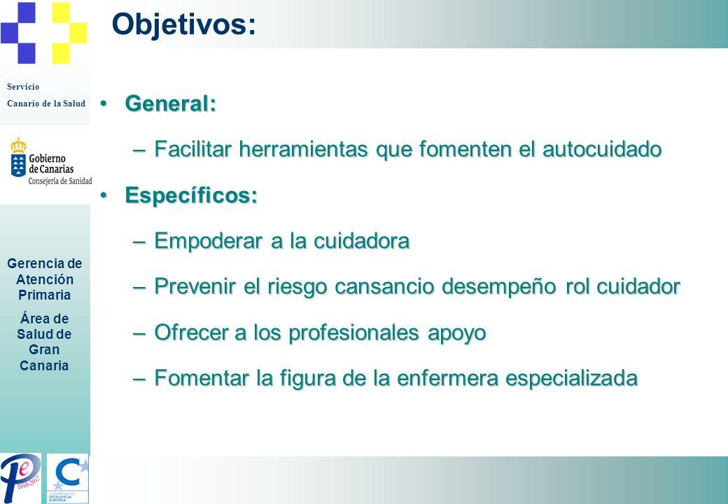 Servicio Canario de la Salud Gerencia de Atención Primaria Área de Salud de Gran Canaria Objetivos: General:General: –Facilitar herramientas que fomen
