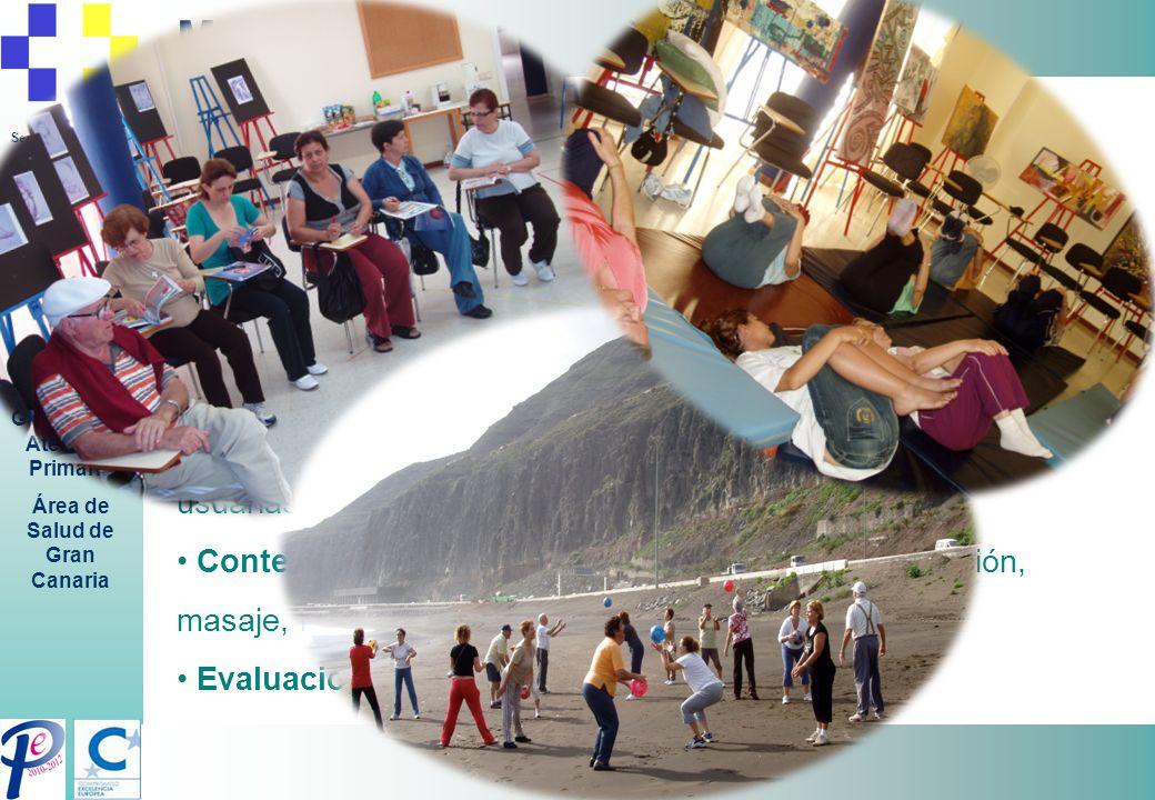 Servicio Canario de la Salud Gerencia de Atención Primaria Área de Salud de Gran Canaria Metodología: Población diana: cuidadoras informales Calendari