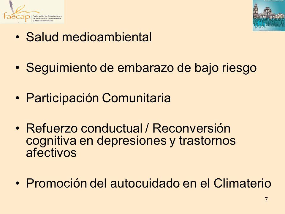 Salud medioambiental Seguimiento de embarazo de bajo riesgo Participación Comunitaria Refuerzo conductual / Reconversión cognitiva en depresiones y tr