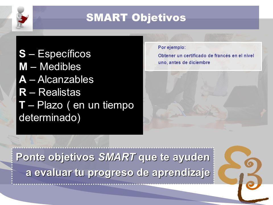 learning to learn network for low skilled senior learners SMART Objetivos Por ejemplo: Obtener un certificado de francés en el nivel uno, antes de dic