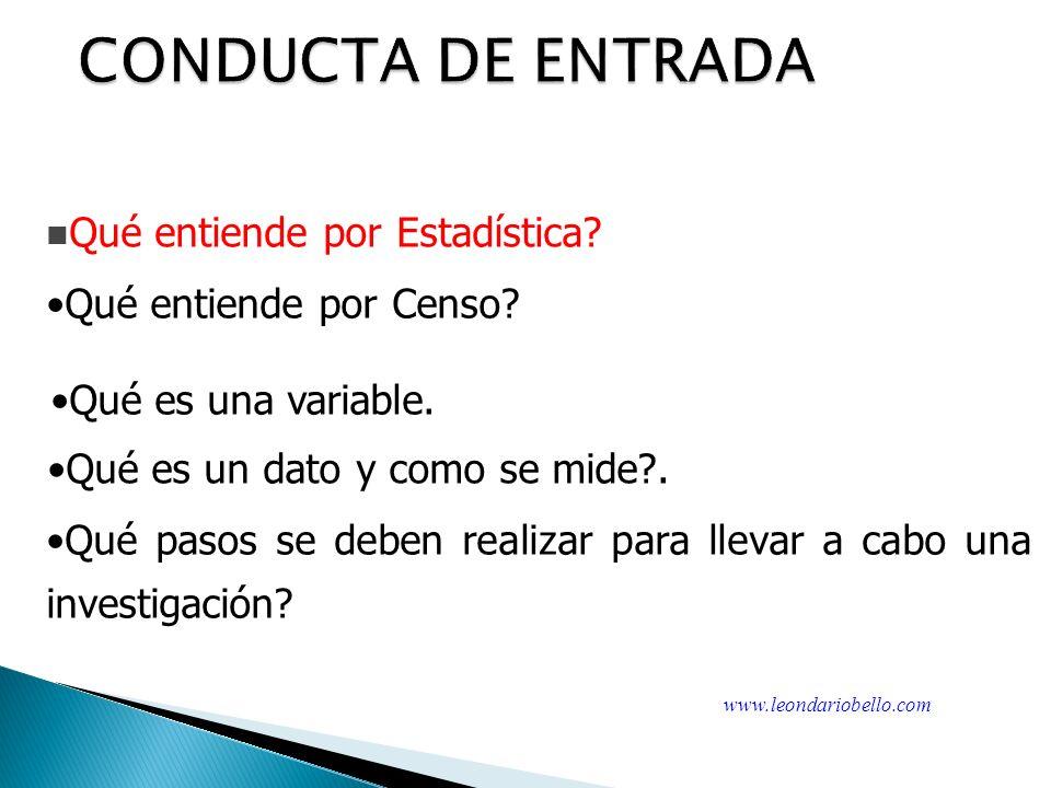 CONDUCTA DE ENTRADA Qué entiende por Censo.Qué es una variable.