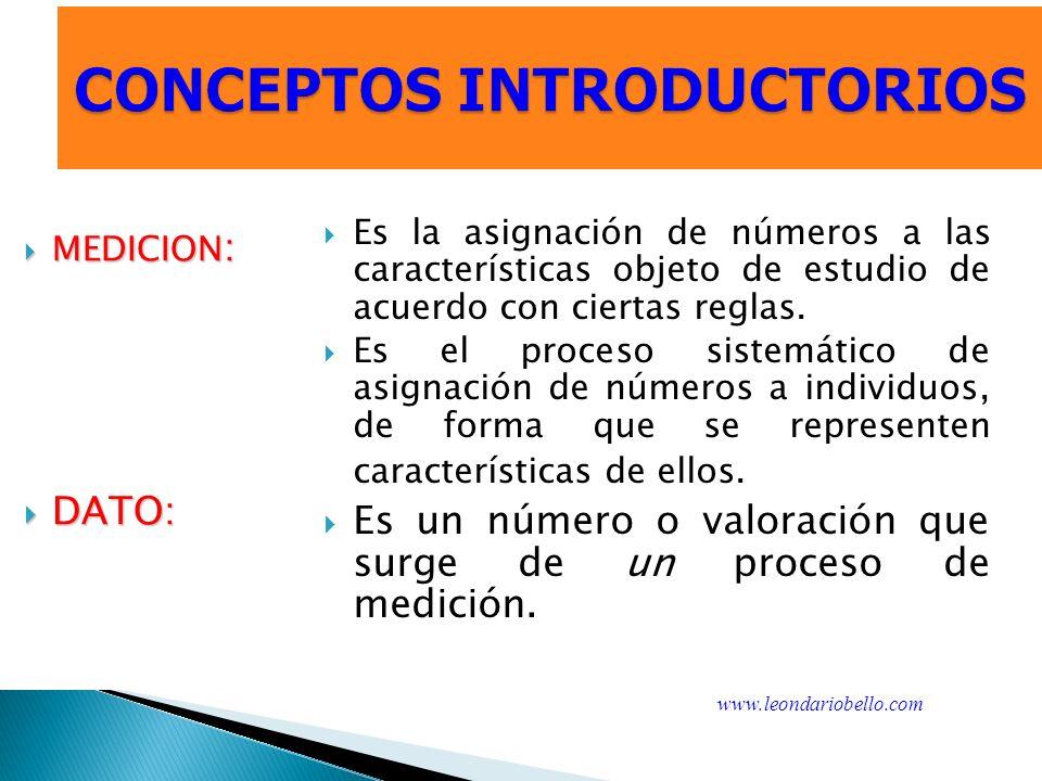 CONCEPTOS INTRODUCTORIOS MEDICION : MEDICION : DATO: DATO: Es la asignación de números a las características objeto de estudio de acuerdo con ciertas reglas.