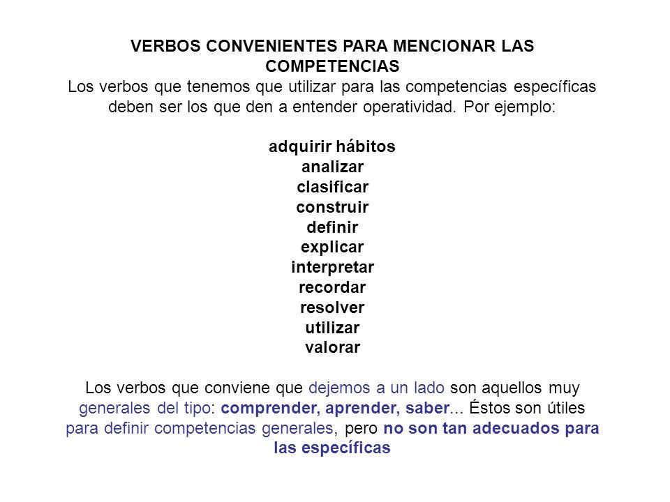 VERBOS CONVENIENTES PARA MENCIONAR LAS COMPETENCIAS Los verbos que tenemos que utilizar para las competencias específicas deben ser los que den a ente