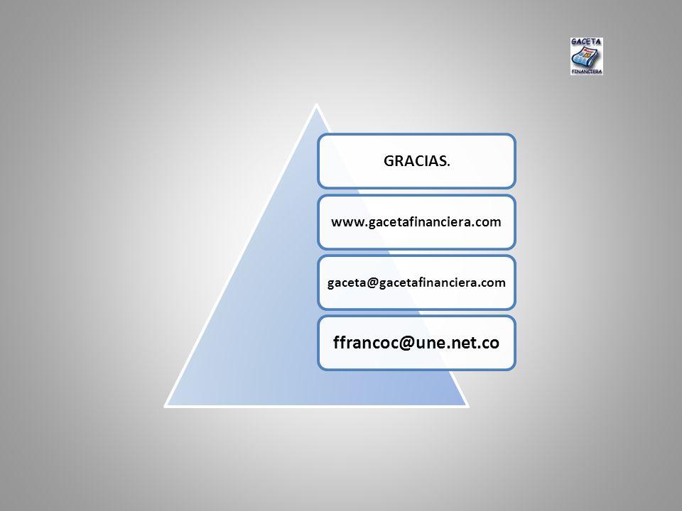 GRACIAS. www.gacetafinanciera.com gaceta@gacetafinanciera.com ffrancoc@une.net.co