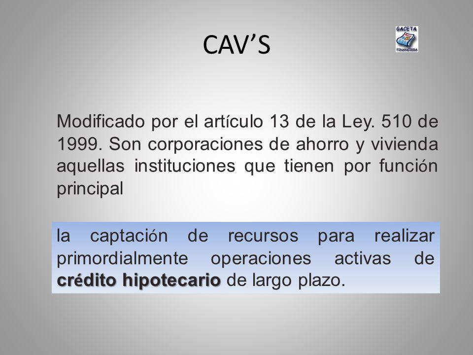 CAVS Modificado por el art í culo 13 de la Ley. 510 de 1999. Son corporaciones de ahorro y vivienda aquellas instituciones que tienen por funci ó n pr