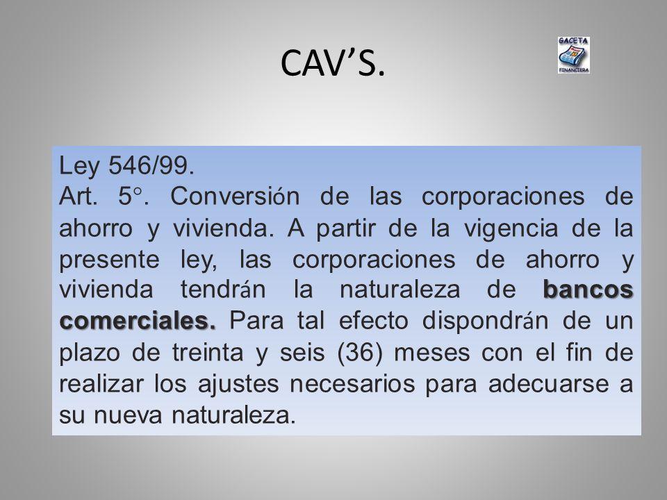 CAVS. Ley 546/99. bancos comerciales. Art. 5°. Conversi ó n de las corporaciones de ahorro y vivienda. A partir de la vigencia de la presente ley, las