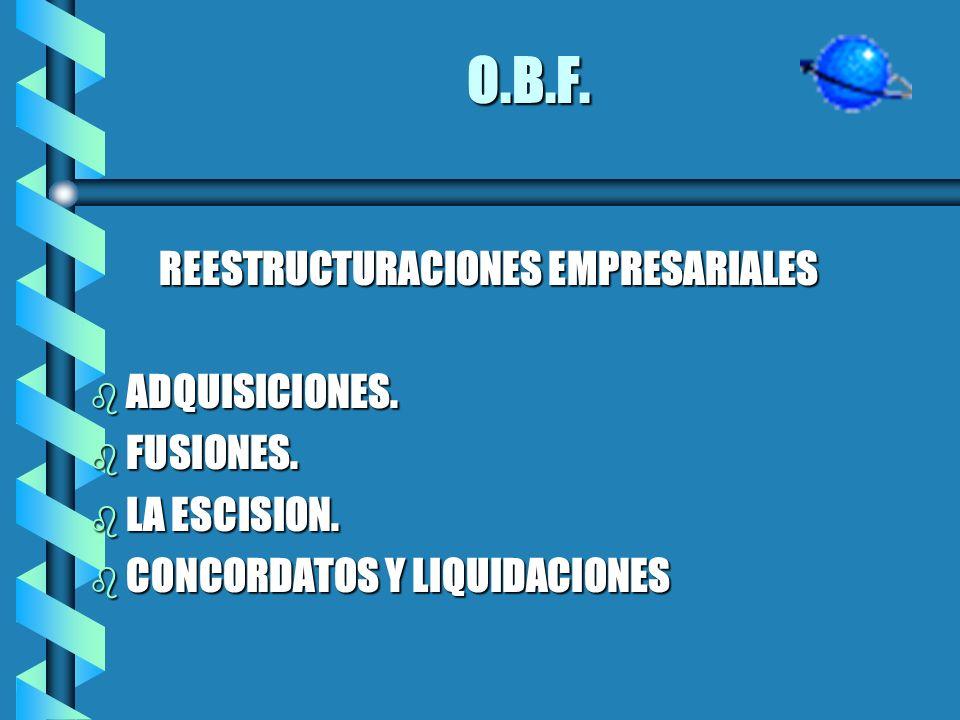 O.B.F. b Diferentes b Diferentes conceptos de empresa y sus objetivos. b Clases b Clases de objetivos. b Maximizar b Maximizar utilidades ó Maximizar