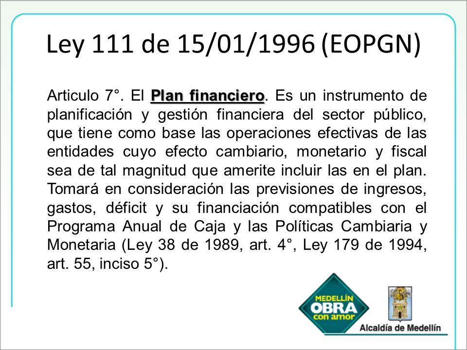 Ley 111 de 15/01/1996 (EOPGN) Plan financiero Articulo 7°. El Plan financiero. Es un instrumento de planificación y gestión financiera del sector públ