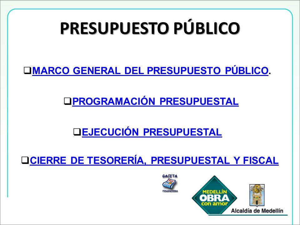 PRESUPUESTO PÚBLICO MARCO GENERAL DEL PRESUPUESTO PÚBLICO. MARCO GENERAL DEL PRESUPUESTO PÚBLICO PROGRAMACIÓN PRESUPUESTAL EJECUCIÓN PRESUPUESTAL CIER