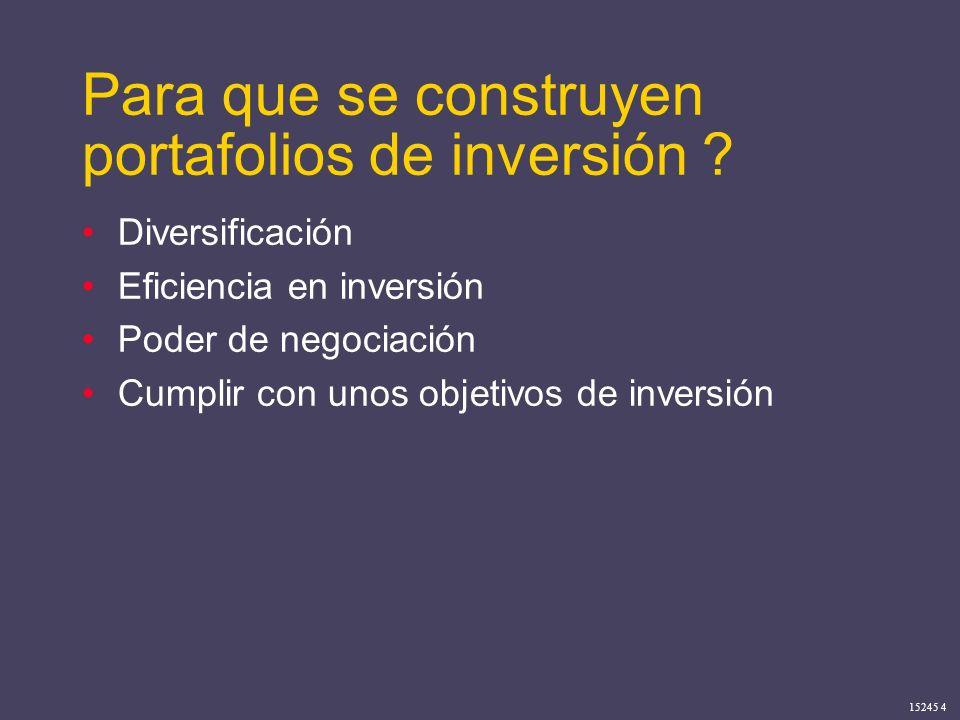 15245 4 Para que se construyen portafolios de inversión ? Diversificación Eficiencia en inversión Poder de negociación Cumplir con unos objetivos de i