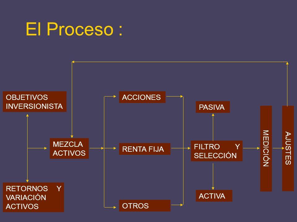 RETORNOS Y VARIACIÓN ACTIVOS OBJETIVOS INVERSIONISTA MEZCLA ACTIVOS ACCIONES RENTA FIJA OTROS ACTIVA PASIVA MEDICIÓN AJUSTES El Proceso : FILTRO Y SEL