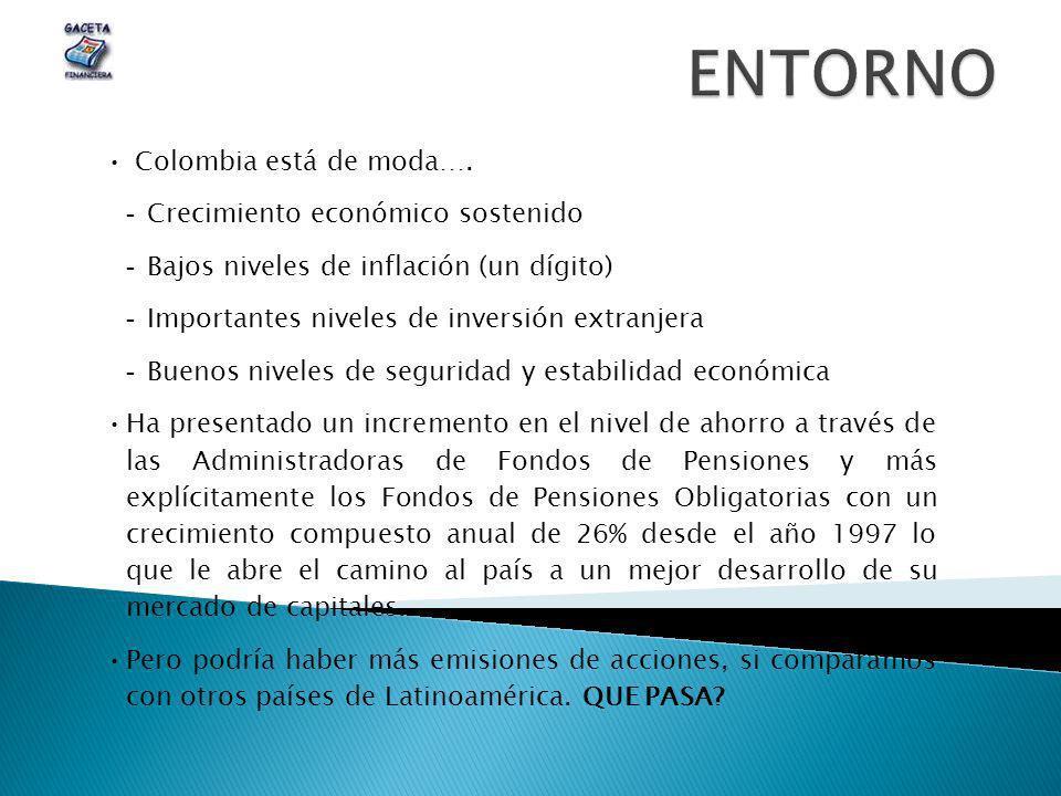 Colombia está de moda….  Crecimiento económico sostenido  Bajos niveles de inflación (un dígito)  Importantes niveles de inversión extranjera  Bue