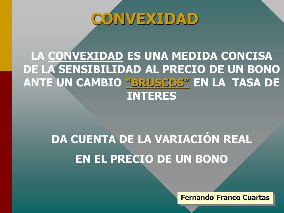 Fernando Franco Cuartas CONVEXIDAD BRUSCOS LA CONVEXIDAD ES UNA MEDIDA CONCISA DE LA SENSIBILIDAD AL PRECIO DE UN BONO ANTE UN CAMBIO BRUSCOS EN LA TA