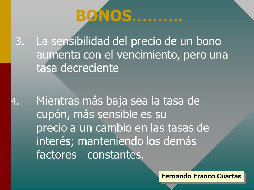 3.La sensibilidad del precio de un bono aumenta con el vencimiento, pero una tasa decreciente BONOS ………. 4. Mientras más baja sea la tasa de cupón, má