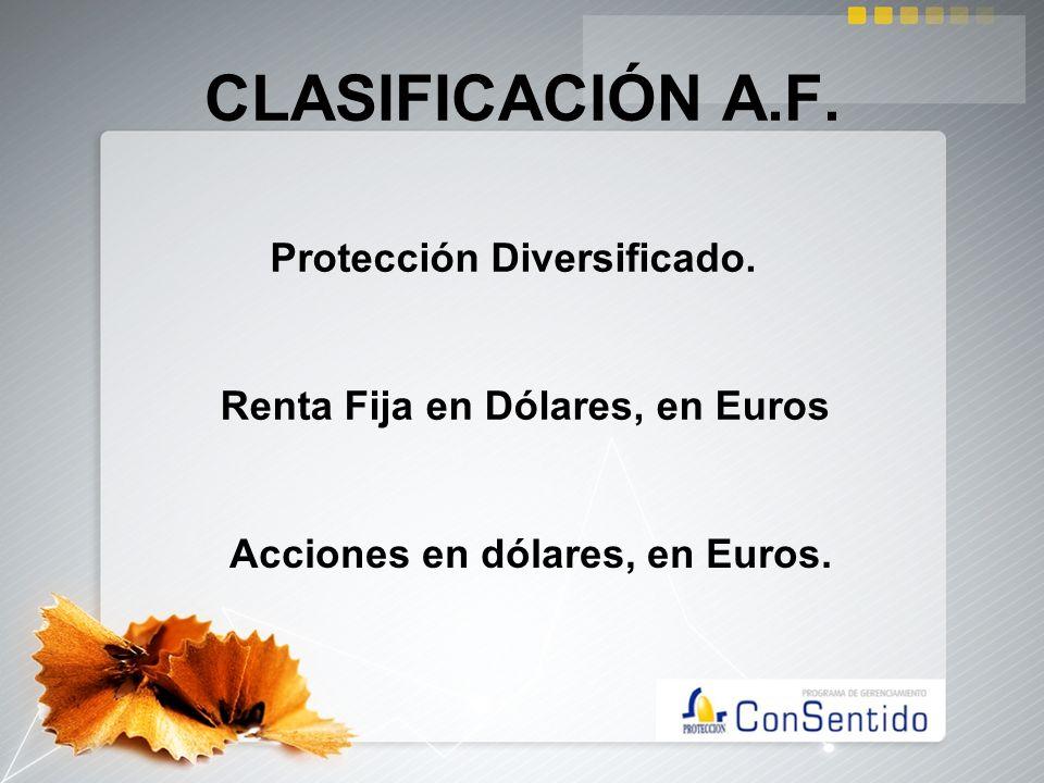 CLASIFICACIÓN A.F. Protección Diversificado. Renta Fija en Dólares, en Euros Acciones en dólares, en Euros.