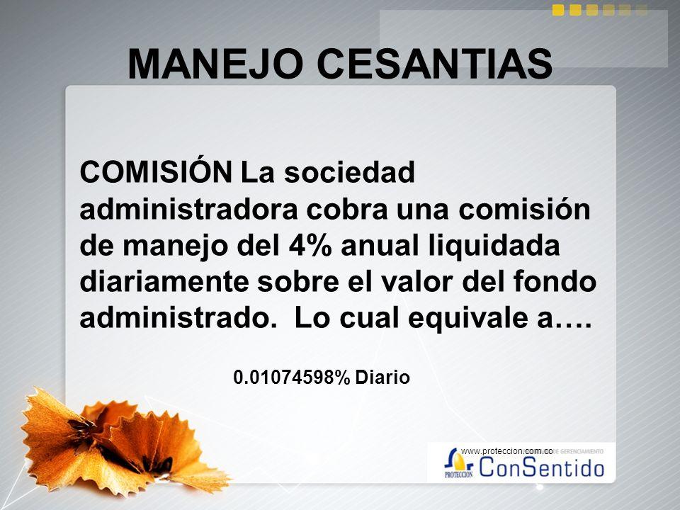 MANEJO CESANTIAS COMISIÓN La sociedad administradora cobra una comisión de manejo del 4% anual liquidada diariamente sobre el valor del fondo administ