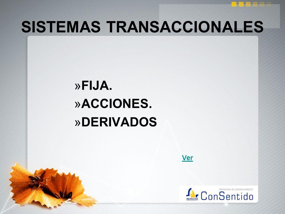 SISTEMAS TRANSACCIONALES »FIJA. »ACCIONES. »DERIVADOS Ver