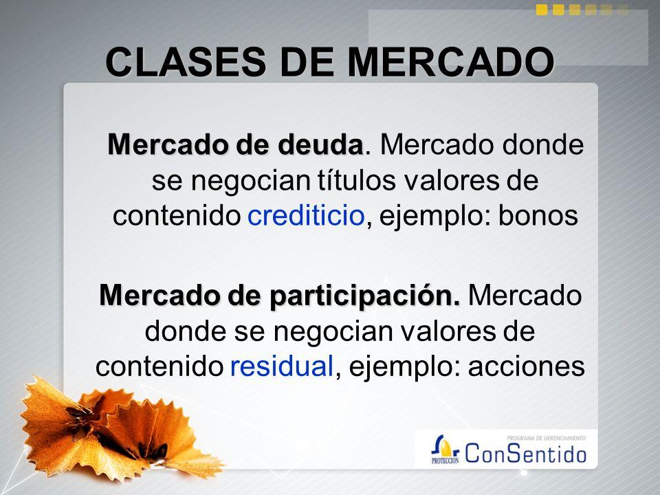 CLASES DE MERCADO Mercado de deuda Mercado de deuda. Mercado donde se negocian títulos valores de contenido crediticio, ejemplo: bonos Mercado de part