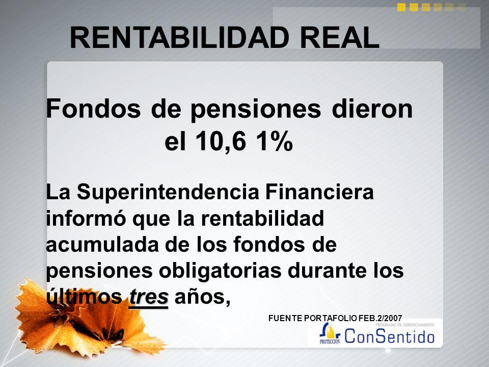 Fondos de pensiones dieron el 10,6 1% RENTABILIDAD REAL tres La Superintendencia Financiera informó que la rentabilidad acumulada de los fondos de pen