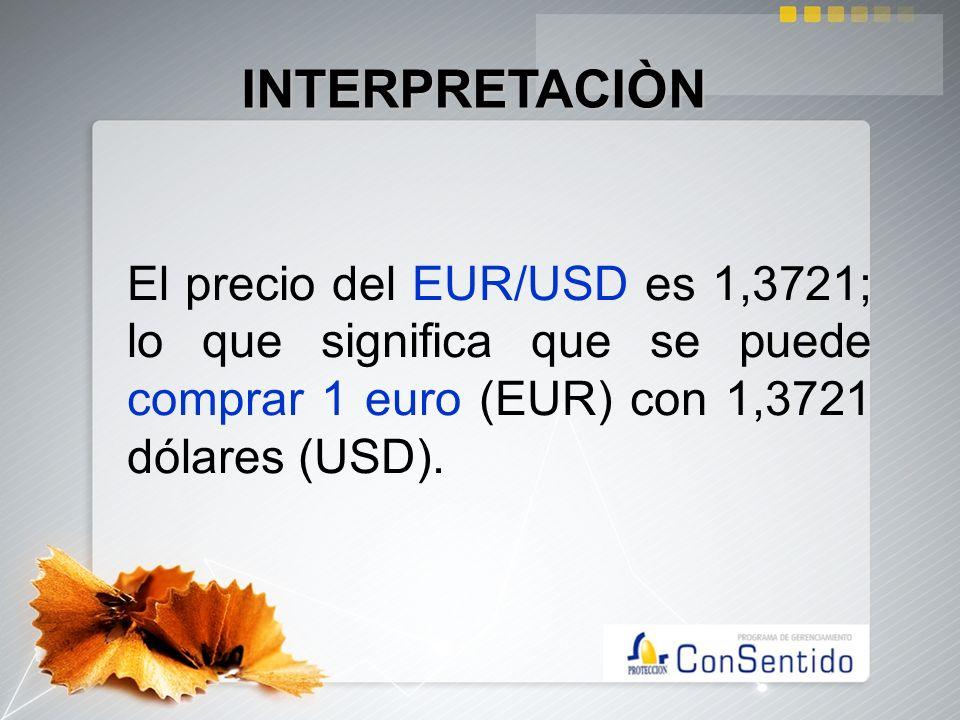 El precio del EUR/USD es 1,3721; lo que significa que se puede comprar 1 euro (EUR) con 1,3721 dólares (USD). INTERPRETACIÒN