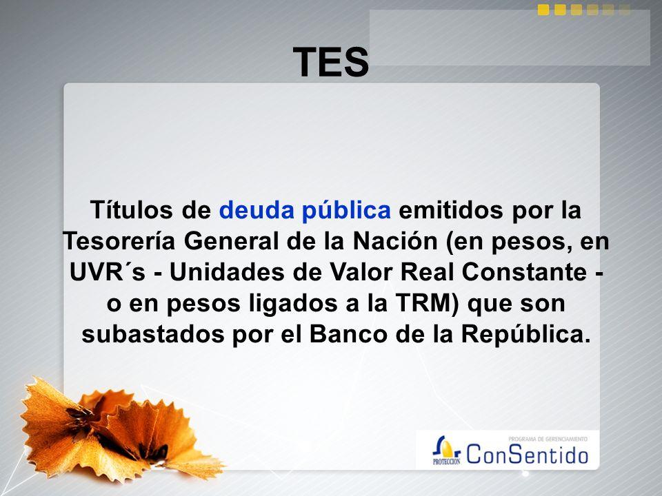 TES Títulos de deuda pública emitidos por la Tesorería General de la Nación (en pesos, en UVR´s - Unidades de Valor Real Constante - o en pesos ligado