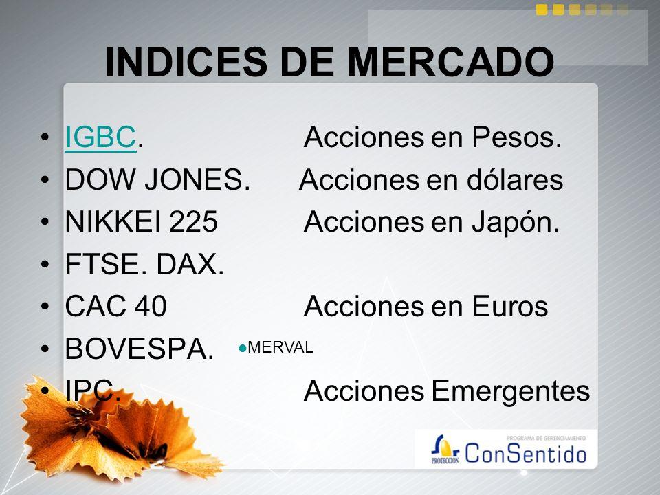 INDICES DE MERCADO IGBC.Acciones en Pesos.IGBC DOW JONES. Acciones en dólares NIKKEI 225Acciones en Japón. FTSE. DAX. CAC 40 Acciones en Euros BOVESPA