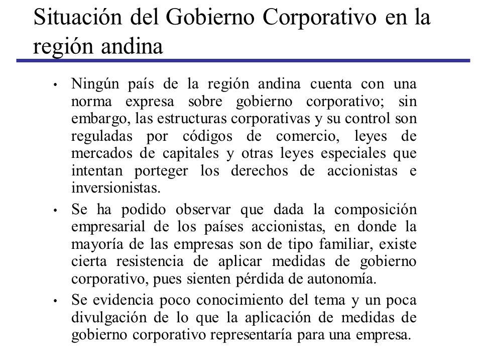 Situación del Gobierno Corporativo en la región andina Ningún país de la región andina cuenta con una norma expresa sobre gobierno corporativo; sin em