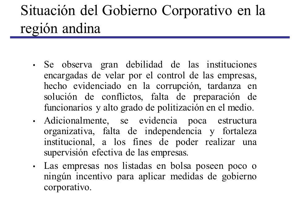 Situación del Gobierno Corporativo en la región andina Se observa gran debilidad de las instituciones encargadas de velar por el control de las empres