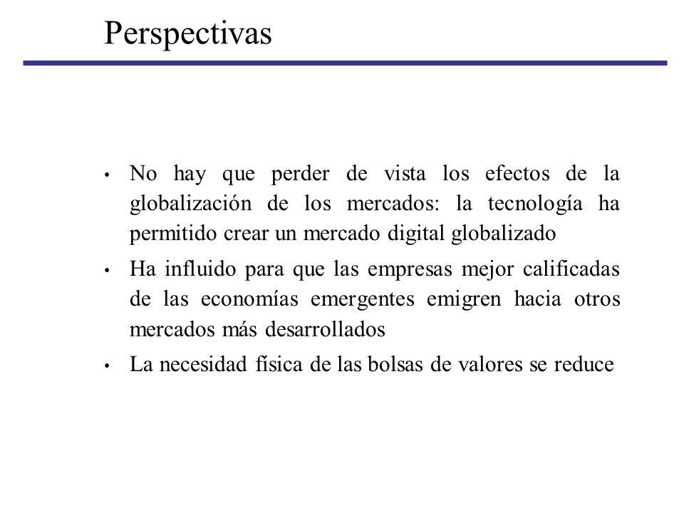 Perspectivas No hay que perder de vista los efectos de la globalización de los mercados: la tecnología ha permitido crear un mercado digital globaliza