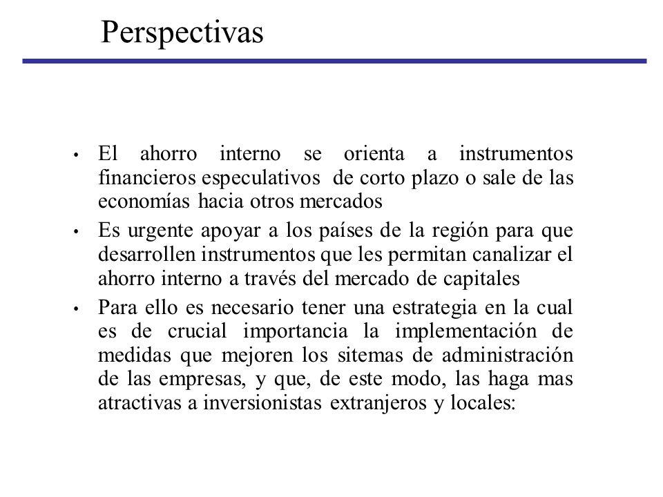 Perspectivas El ahorro interno se orienta a instrumentos financieros especulativos de corto plazo o sale de las economías hacia otros mercados Es urge