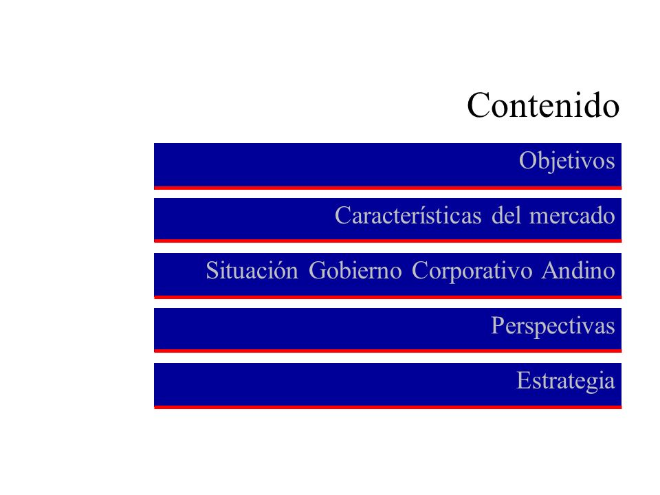 Contenido Objetivos Características del mercado Perspectivas Estrategia Situación Gobierno Corporativo Andino