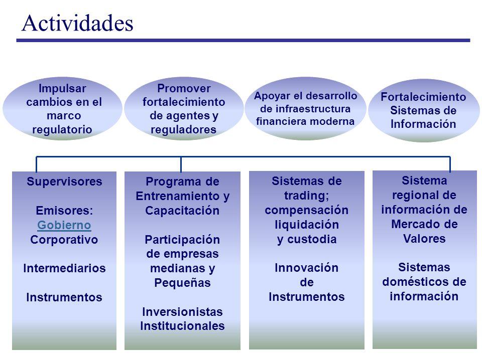 Actividades Promover fortalecimiento de agentes y reguladores Apoyar el desarrollo de infraestructura financiera moderna Fortalecimiento Sistemas de I