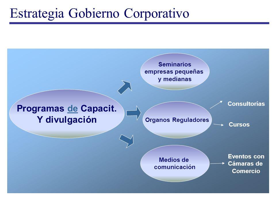 Estrategia Gobierno Corporativo Programas de Capacit.de Y divulgación Seminarios empresas pequeñas y medianas Organos Reguladores Medios de comunicaci