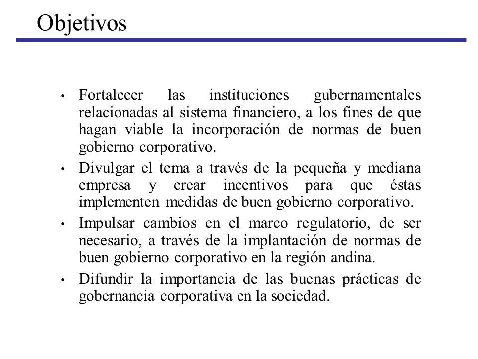 Objetivos Fortalecer las instituciones gubernamentales relacionadas al sistema financiero, a los fines de que hagan viable la incorporación de normas