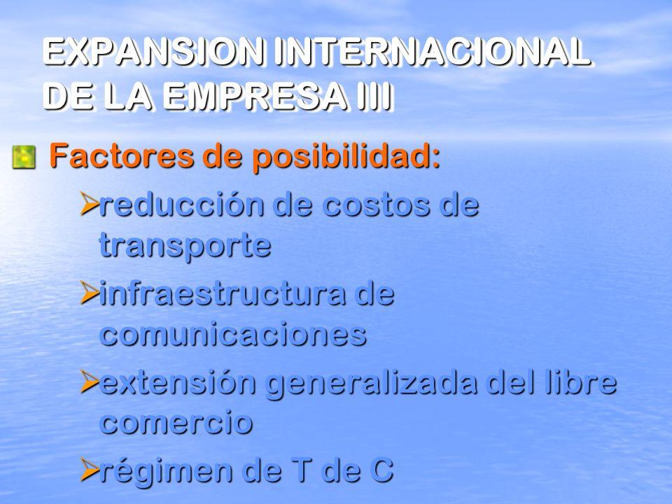 EXPANSION INTERNACIONAL DE LA EMPRESA II Dimensiones: 1. Expansión del comercio y negocios internacionales 2. Aumento de flujos de bienes, servicios e
