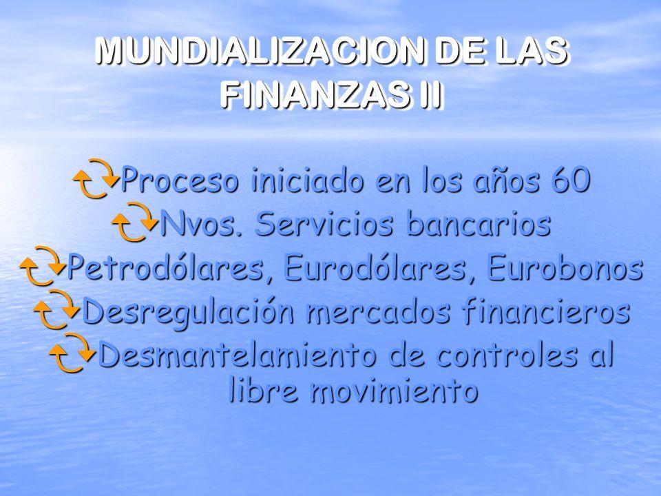 MUNDIALIZACION DE LAS FINANZAS I INDICADORES NOTABLES Crecimiento de capitales internacionales Movimientos en los tipos de cambio Función de las finan