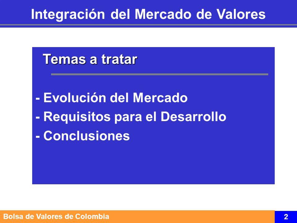 Temas a tratar Temas a tratar - Evolución del Mercado - Requisitos para el Desarrollo - Conclusiones Integración del Mercado de Valores Bolsa de Valores de Colombia 3
