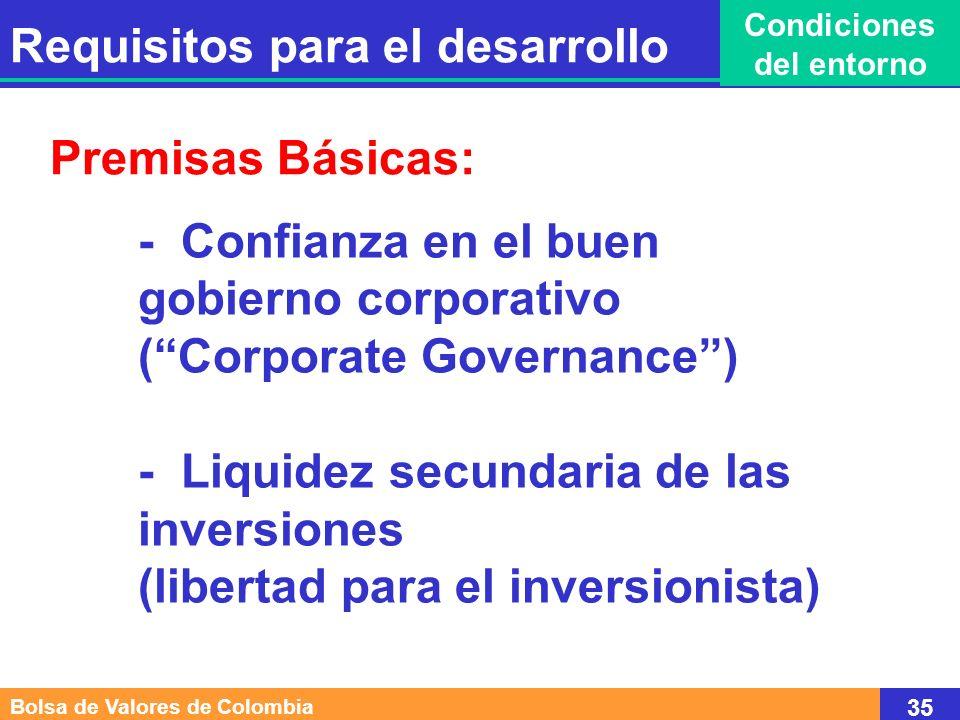 - Confianza en el buen gobierno corporativo (Corporate Governance) - Liquidez secundaria de las inversiones (libertad para el inversionista) Premisas