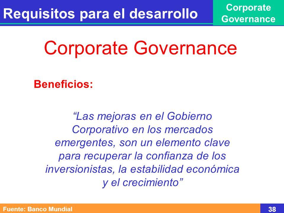 Beneficios: Las mejoras en el Gobierno Corporativo en los mercados emergentes, son un elemento clave para recuperar la confianza de los inversionistas