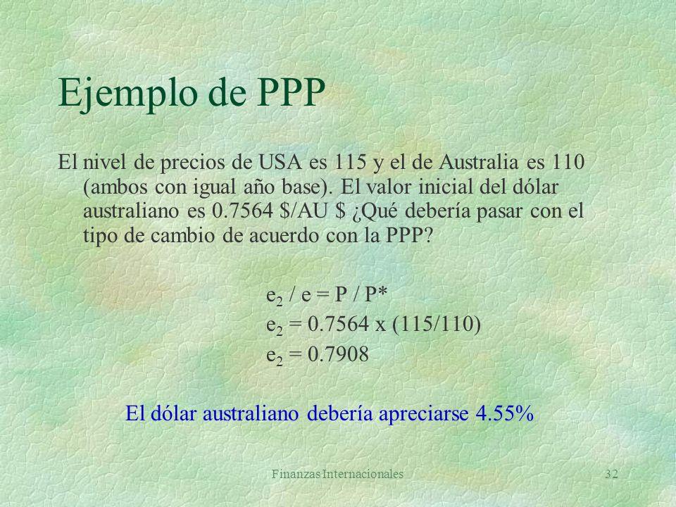Finanzas Internacionales31 PPP §Útil para pronosticar variaciones en tipo de cambio en el largo plazo §En corto plazo tipos de cambio difieren de PPP