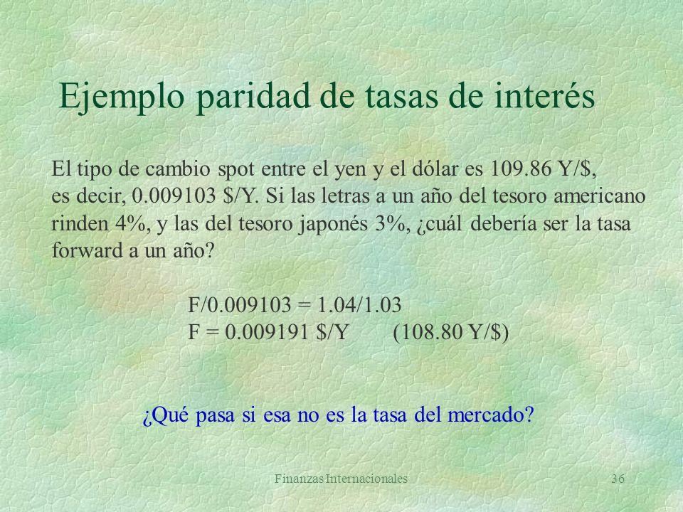 Finanzas Internacionales35 Paridad de tasas de interés §Las diferencias entre las tasas nominales de interés de dos países determinan la prima o el de