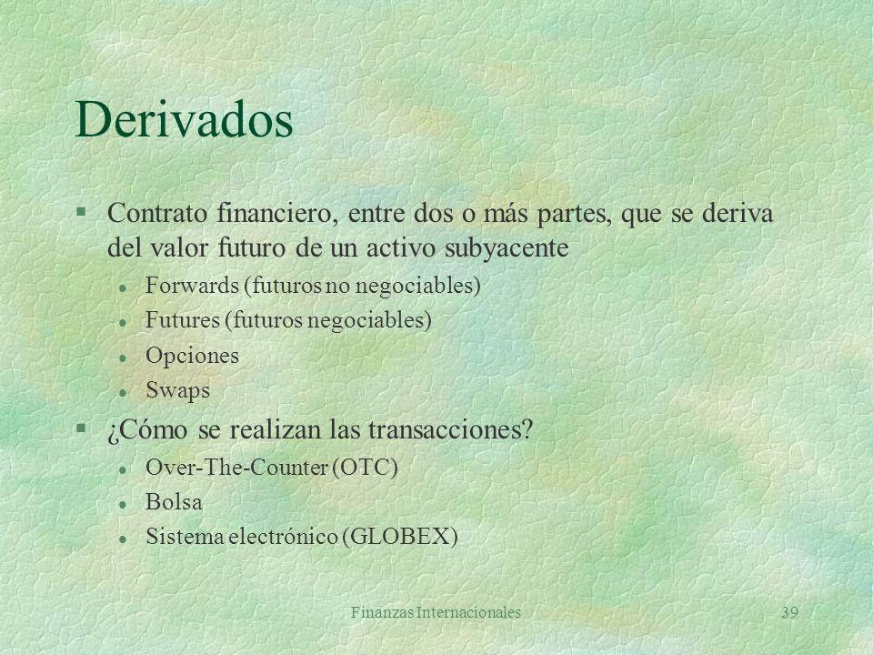 Finanzas Internacionales38 Derivados negociables en bolsa