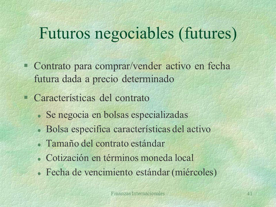 Finanzas Internacionales40 Bolsa vs OTC Futuros y opcionesPlazo, opciones, swaps Transacción en rueda/electrónicaTransacción privada Contratos estanda