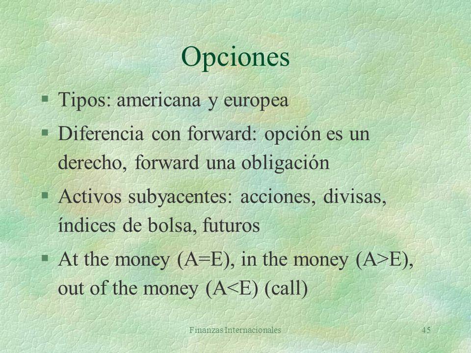 Finanzas Internacionales44 Opciones §Contrato que confiere al comprador el derecho de comprar (vender) un activo a un precio determinado durante un pe