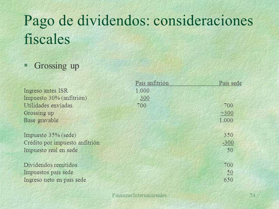 Finanzas Internacionales73 Conductos para mover fondos §Flujos por compensación del capital invertido l Pago de dividendos l Pago de intereses por pré