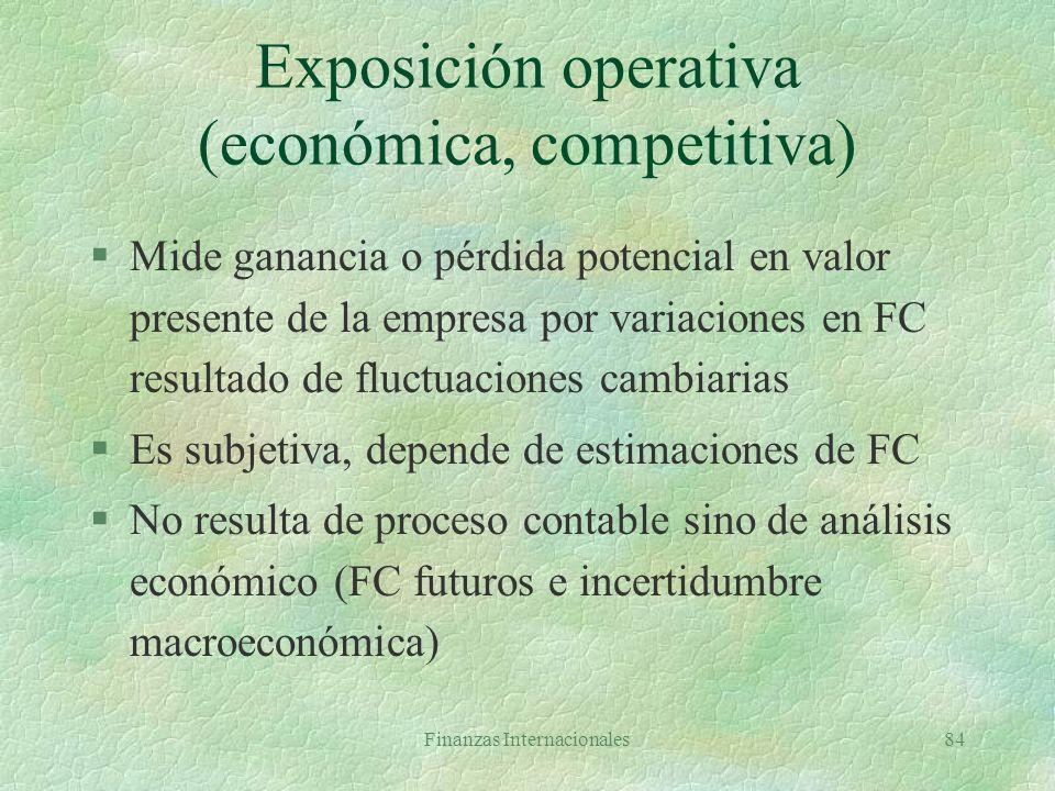 Finanzas Internacionales83 Alternativas de la empresa §No cubrirse §Cubrirse en mercado forward l Costo: cotización TC a plazo §Cubrirse en mercado mo